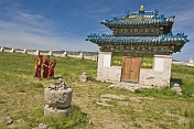 Young Buddhist monks walking in the compound of the Erdene Zuu Khiid (Hundred Treasures Monastery).