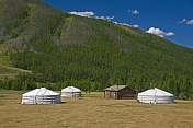 A group of yurts and a log cabin nestle in a forested mountain valley.