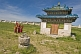 Image of Young Buddhist monks walking in the compound of the Erdene Zuu Khiid (Hundred Treasures Monastery).