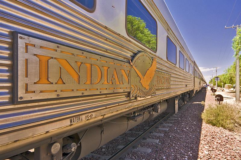 Great Southern Rail Indian Pacific logo and carriages.