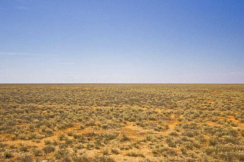 View of deserted Nullarbor Plain from the GSR Indian Pacific trans-continental train.