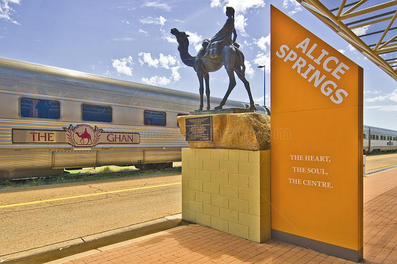 Camel memorial to Afghan workers on the Ghan rail line at Alice Springs station.