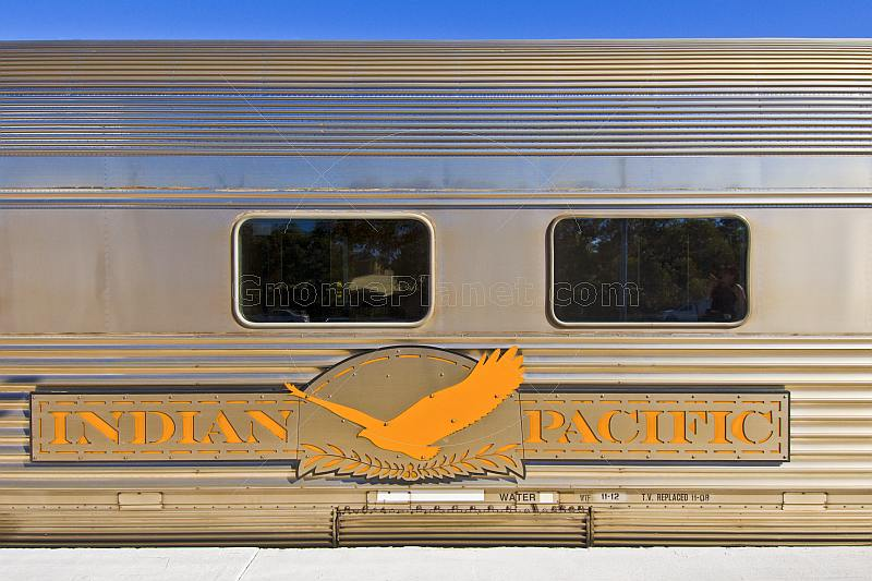 Indian Pacific logo and carriage signboard at Broken Hill railroad station.