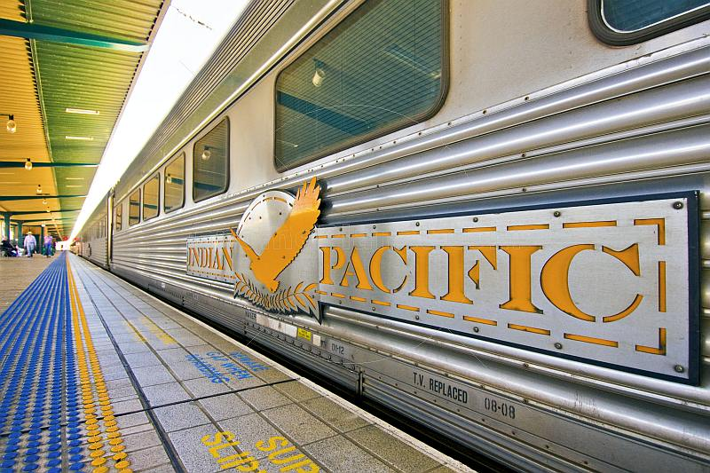 Indian Pacific logo and signboard on carriage at the Sydney Central Station