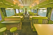 Empty tables in the Red Class 'Matilda Cafe' buffet car