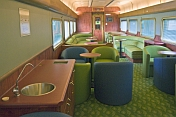 Sink and seating area in 'Red Gum' lounge car