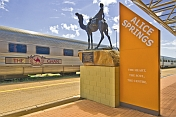 Statue to Afghan camel pioneers at Alice Springs station
