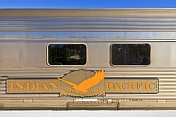 'Indian Pacific' logo and nameboard on carriage at Broken Hill
