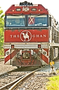 Ghan locomotive crosses points at Alice Springs