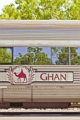 'Ghan' carriage and tree reflections at Alice Springs