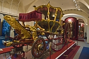 Gold and painted royal coach in the National Museum of the Republik of Tatarstan.