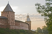 Walls and tower of the Kremlin, which was rebuilt iin brick during the 14th century.