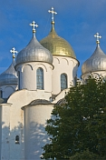 Towers and onion domes of the Cathedral of Saint Sophia, in the Kremlin walls.