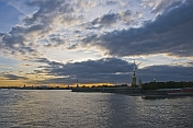 Sunset over the Peter and Paul Fortress and the River Neva.