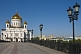 Image of The gold-domed Cathedral of Christ the Saviour stands next to the Moscow River.