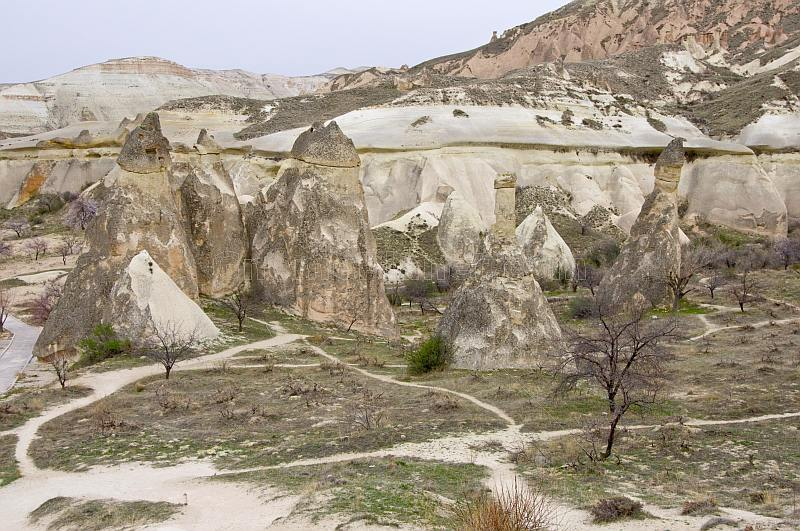 Fairy chimneys and caves carved from volcanic 'tuft' rock, around Goreme.