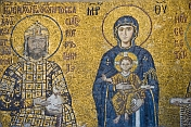 Mosiac of Madonna and Child with King; in Aya Sofia.