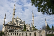 Exterior view in morning sunlight of Sultan Ahmet\\\\'s blue mosque in Sultanahmet.