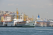 Ferry boats leave the Golden Horn, to cross the Bosphorus.