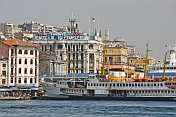Ferry boats moored at Karakoy, on the Golden Horn.