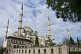 Image of Exterior view in morning sunlight of Sultan Ahmet\\\\'s blue mosque in Sultanahmet.