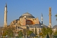 Image of The dome and minarets of the Aya Sofia on Sultanahmet, lit by evening sunshine.