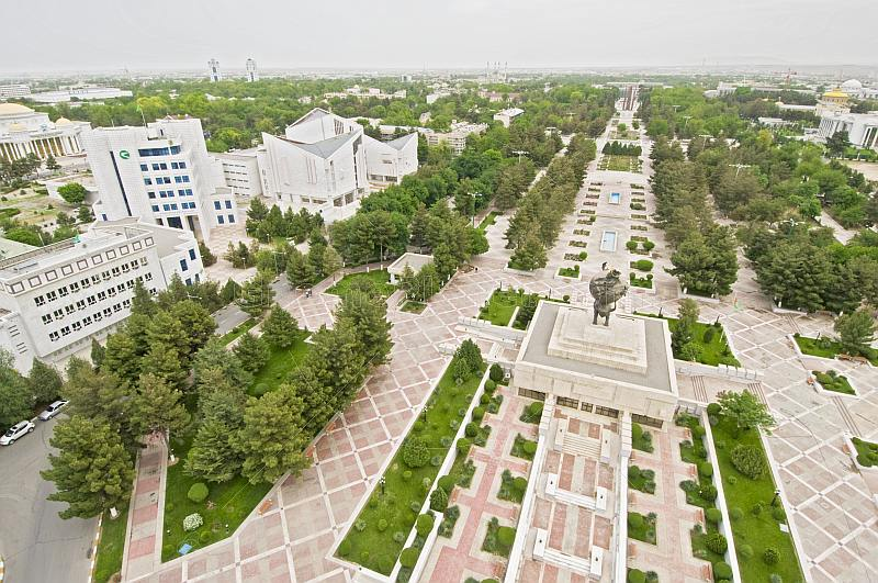 View over Independence Square and central Ashgabat from the Arch of Neutrality.