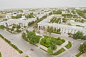View over Government buildings and central Ashgabat from the Arch of Neutrality.