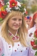 Ukrainian girl in national costume and flowered head-dress.