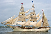 Three-masted barque 'Europe' sails into Boston Harbor.