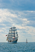The tallship 'Sagres' sails past a spectator yacht off the Massachusetts coast.
