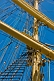 Image of Masts, yards, and rigging of the Russian sailing ship 'Kruzenshtern'.