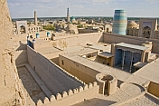 View over the Kuhna Ark, the once fortress and residence of the Khivan Khans, shows the towers, mosques and minarets of the Khiva skyline.
