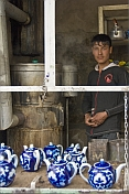 Young man at a tea stall in the Fergana Valley organises teapots as he waits for the water to boil.