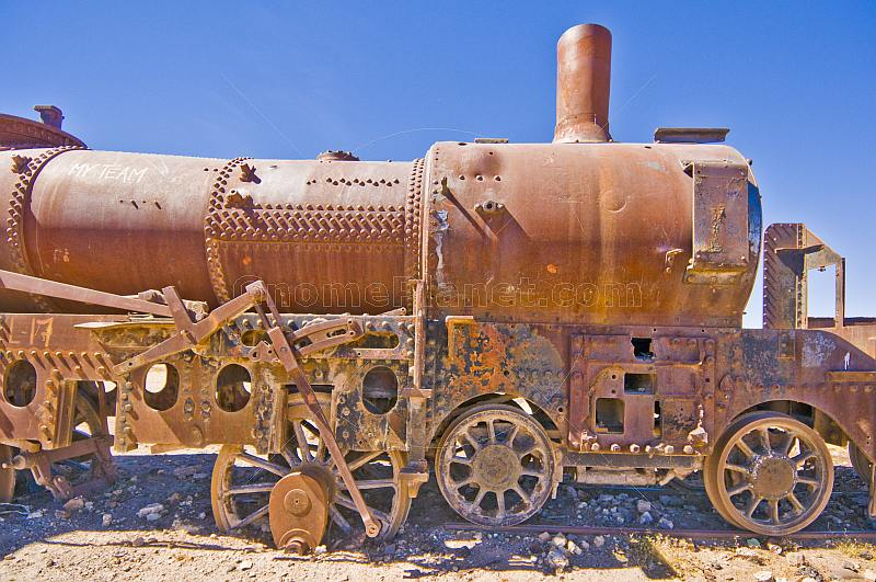 Rusting steam locomotives in the cemetery of steam engines.