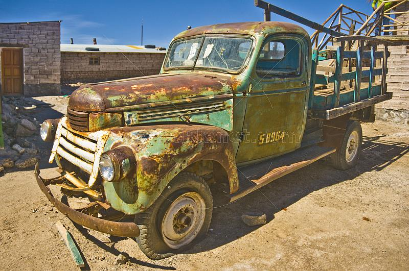 Rusty old truck used to transport salt blocks from the salt lake.