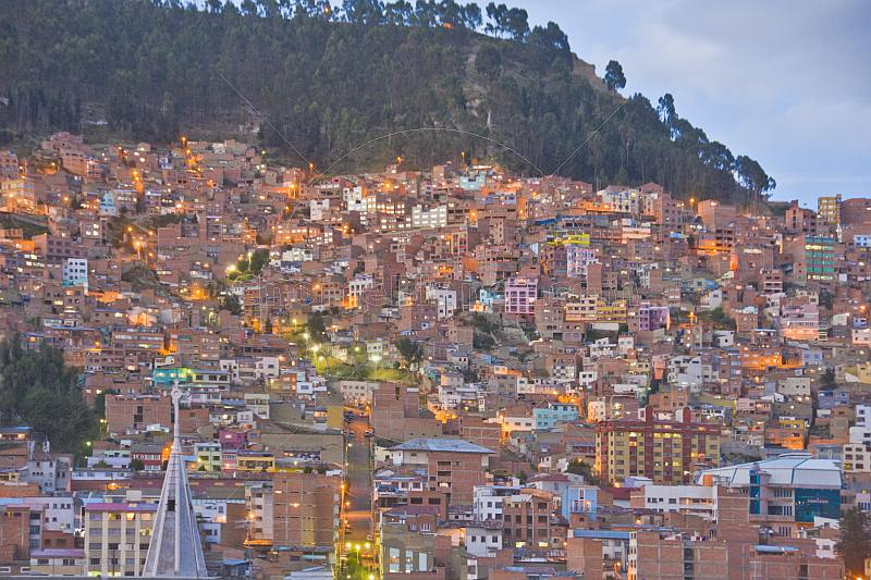 View over the city of La Paz as the evening lights are coming on.