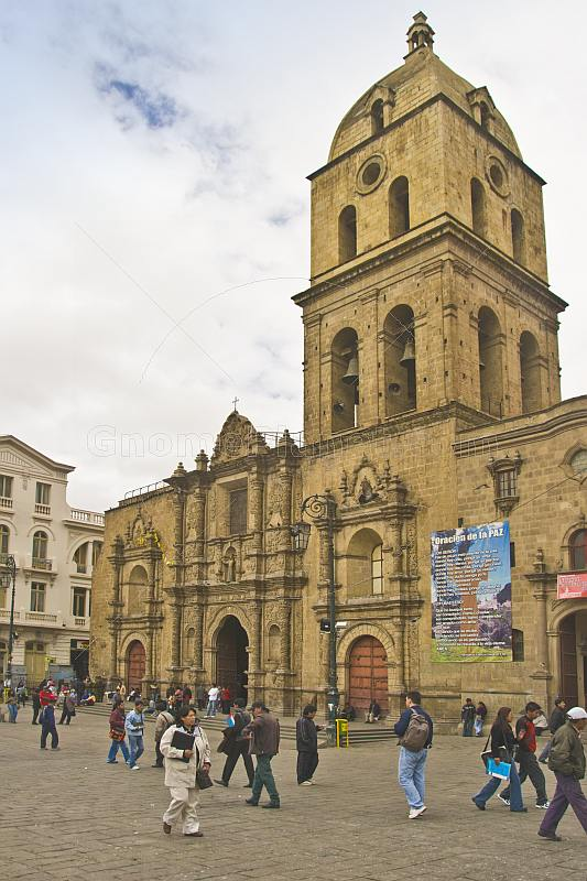 Carved stone frontage and tower of the San Francisco Cathedral.