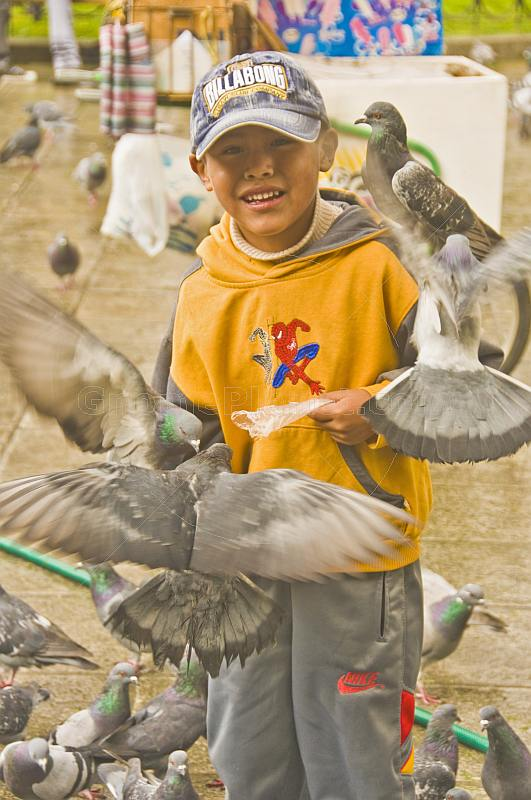Boy in yellow top feeding pigeons on Plaza Murillo.