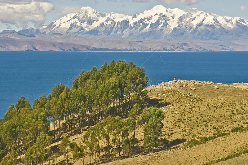 Trees and barren hillside on the Isla del Sol in Lake Titicaca with distant view of Andes mountains.