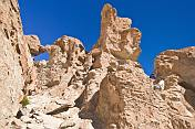 Rocks sculptured by wind erosion in the Valle de las Rocas.