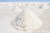 Piles of salt ready for collection at the Uyuni Salt Flats.