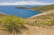 Deserted bay on the Isla del Sol in Lake Titicaca.