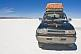 Toyota Land Cruiser on the Uyuni Salt Flats.