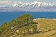 Image of Trees and barren hillside on the Isla del Sol in Lake Titicaca with distant view of Andes mountains.