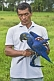 Man with friendly blue Hyacinth Macaw (Anodorhynchus hyacinthinus).