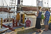 Visitors to Pictou Docks chat with crew members of the schooner 'Roseway'.