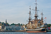 Replica pirate ship 'Hector' moored to the Pictou wharf.