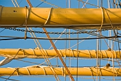 A jumble of chains and ropes of different sizes support and surround the yards on the square rigger 'Picton Castle'.