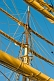Image of Masts ropes yards and rigging on the tallship 'Picton Castle'.